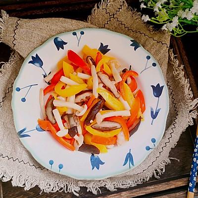 彩椒炒双菇