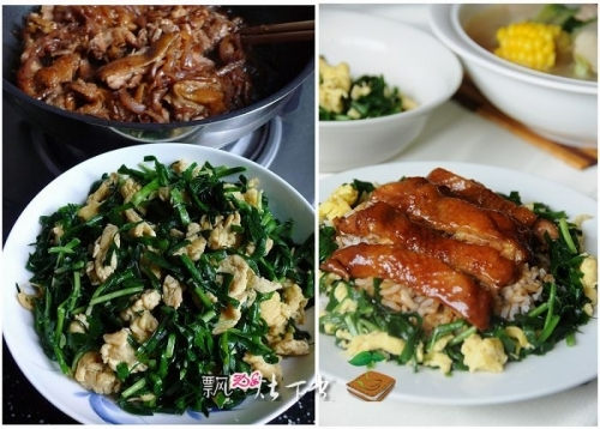 香煎鸡腿饭+韭菜炒蛋的做法