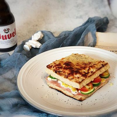 懒人版火腿全麦三明治—快手早餐