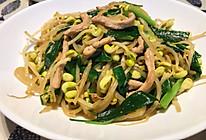 家常快手菜之:韭香黄豆芽炒肉丝的做法
