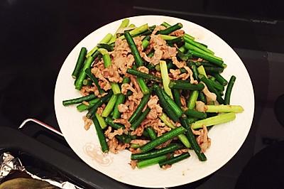 家常小菜の 蒜苗炒肉丝