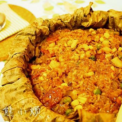 香肠虾仁荷叶饭