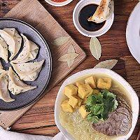 【咖喱牛肉粉丝汤+锅贴】锅贴粉丝汤,一块牛肉两道菜!