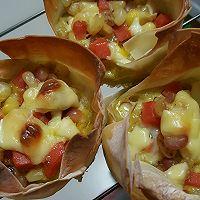 芝士玉米火腿鸡蛋焗云吞片