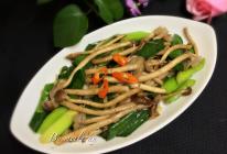 茶树菇炒蒜苗的做法