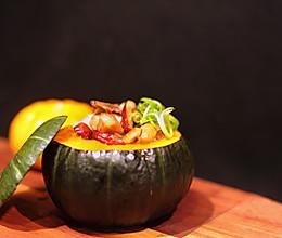 一个南瓜游世界之中国篇-南瓜冬菇蒸鸡的做法