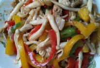 彩椒炒茶树菇的做法