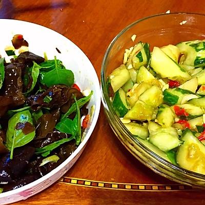 午饭小吃—酸辣拍黄瓜+凉拌黑木耳