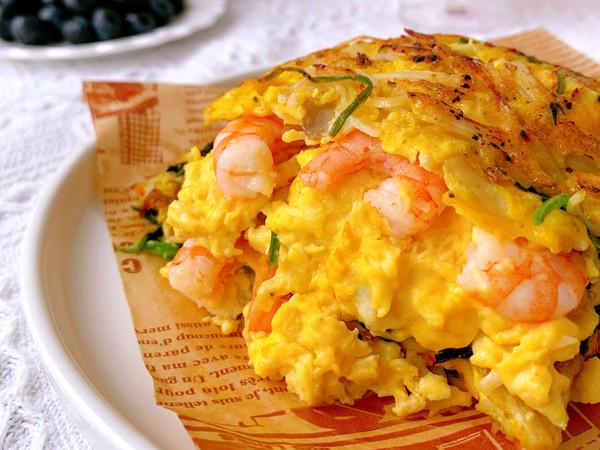 10分钟快手早餐!爆浆的芝士海鲜蔬菜蛋饼的做法