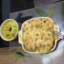 咖喱培根鲜虾焗饭