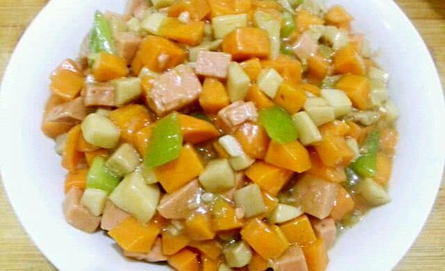 家常小炒素三样~胡萝卜、杏鲍菇、青椒