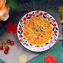 #花10分钟,做一道菜!# 银鱼干白菜火腿千张丝酸汤