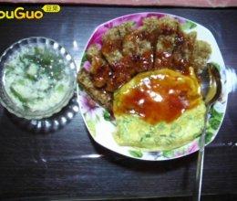 番茄猪排蛋包饭的做法
