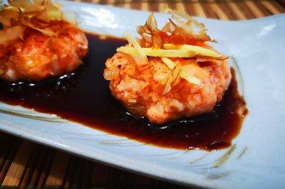 三文鱼虾饼