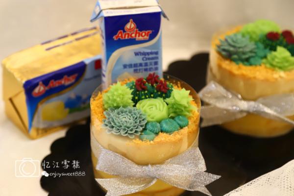 韩式多肉豆沙裱花蛋糕#安佳烘焙学院#的做法