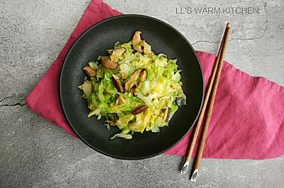 香菇虾皮炒包菜