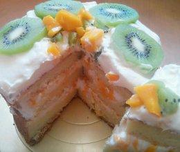 芒果裸蛋糕(表面装饰奇异果)的做法