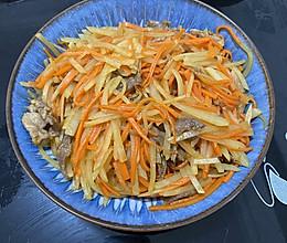 胡萝卜土豆丝炒瘦肉的做法