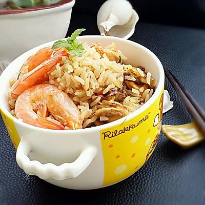 鲜虾扇贝肉焖饭