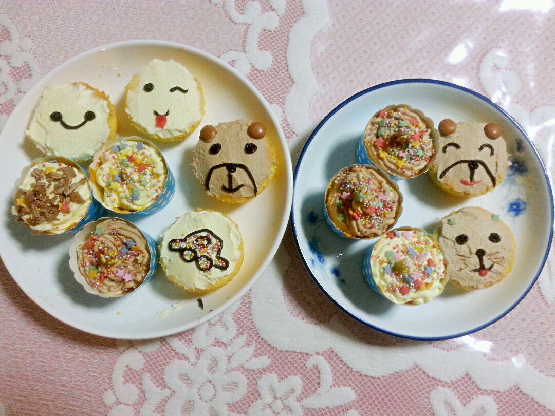 超可爱小小蛋糕小熊小猫大白自己照着画哦