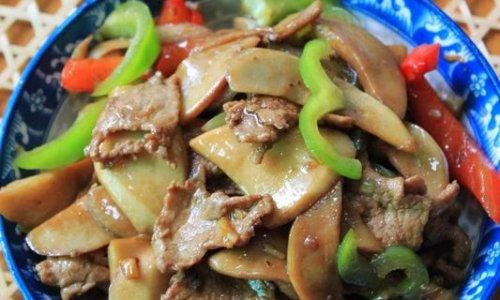 杏鲍菇炒肉片的做法