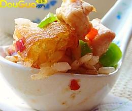 椒香鸡丁油条炒饭的做法