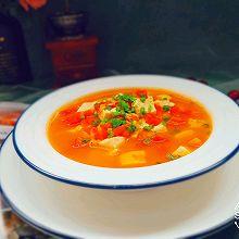 #花10分钟,做一道菜!# 番茄豆腐虾米汤