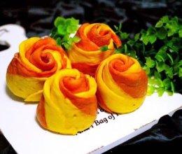 #年味十足的中式面点#双色南瓜玫瑰花馒头的做法