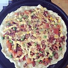 自制电饼铛版超级无敌霹雳至尊披萨,好吃不长肉,简直完美。