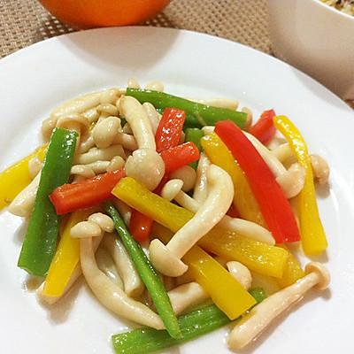 蚝油彩椒白玉菇