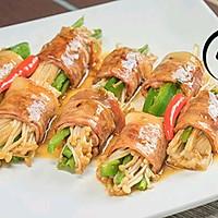 「回家菜谱」——培根金针菇卷