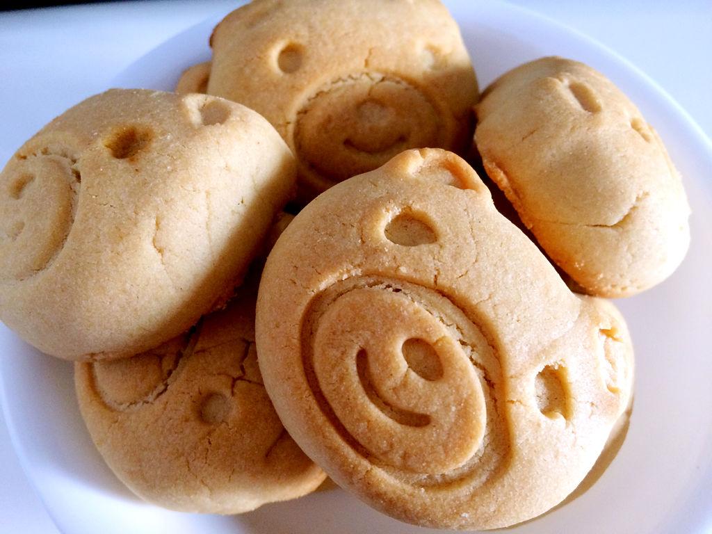可爱的小熊花生松饼