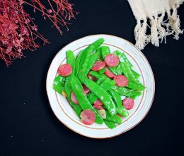 香肠炒荷兰豆#硬核菜谱制作人#的做法