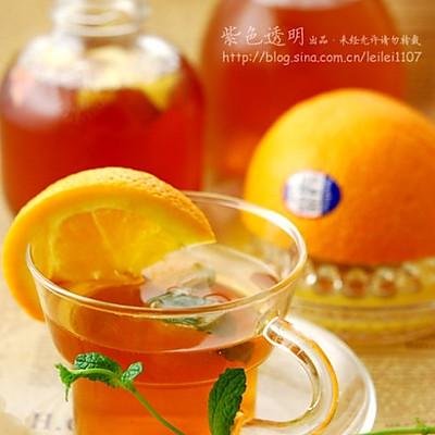 鲜橙冰薄荷果茶