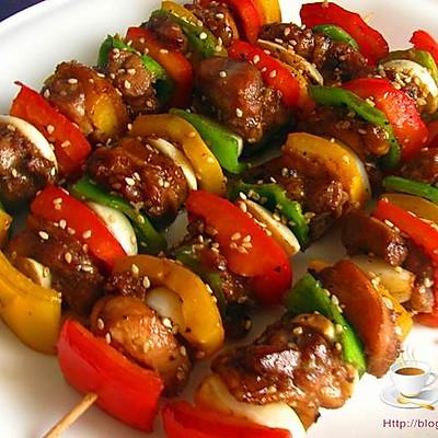 彩椒烤鸡串