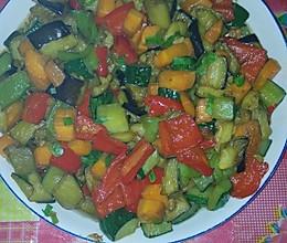 茄子炒彩椒的做法