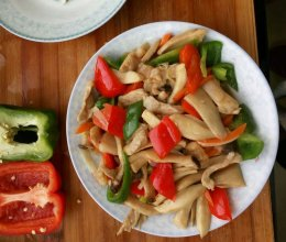 彩椒杏鲍菇炒肉的做法