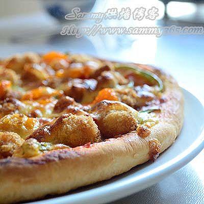 鸡米花缤纷蔬菜披萨
