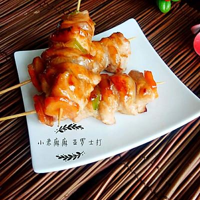 平底锅【叉烧杂蔬鸡肉串】