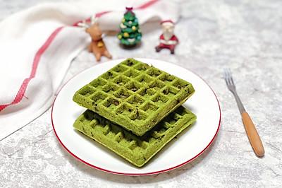 #10分钟早餐大挑战#抹茶蜜豆华夫饼