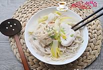 白菜荷包蛋鸡汤面的做法