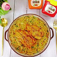 #一勺葱伴侣,成就招牌美味#杂蔬鸡排炒粉