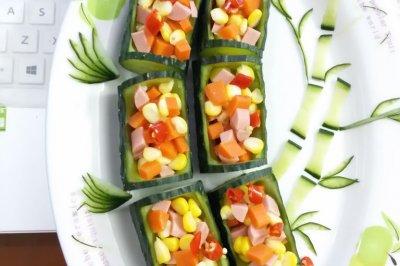 竹林深处有人家彩色午餐黄瓜拼盘