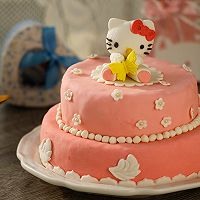 HOLLETKITY粉色双层翻糖蛋糕#九阳烘焙剧场#的做法图解55