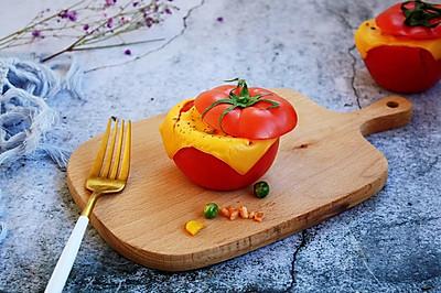 芝士焗番茄鲜虾米饭盅