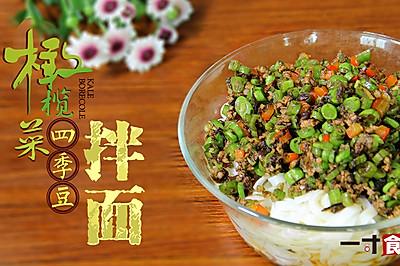 橄榄菜四季豆肉末拌面