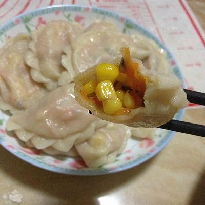 鸡肉饺子和素菜玉米饺子