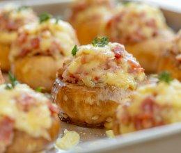 #肉食者联盟#芝士培根煎酿蘑菇|可口可爱的做法