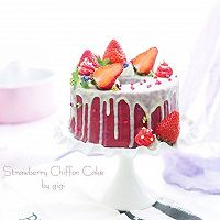 草莓淋面戚风蛋糕#安佳烘焙学院#