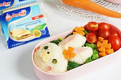 #安佳儿童创意料理#萌萌兔日式饭团快手便当